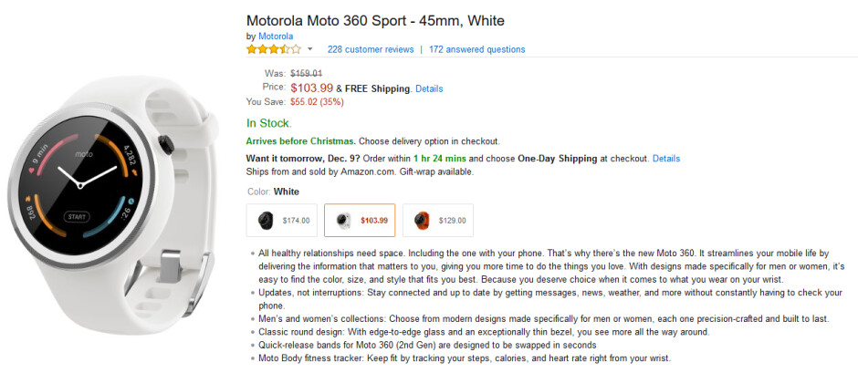 Amazon is cutting 35% off of the price of the Moto 360 Sport - Take 35% off the price of a Moto 360 Sport smartwatch from Amazon