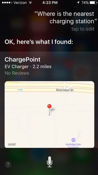 Find ChargePoint charging stations through Apple Maps
