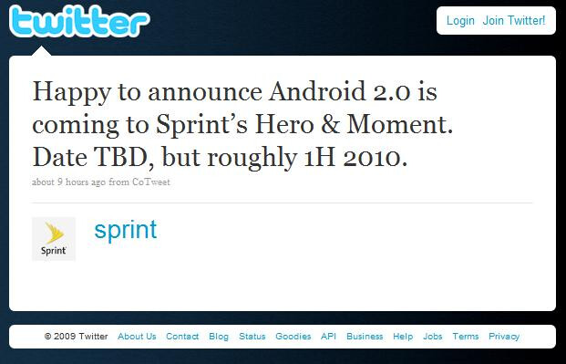 Sprint Tweet: Hero and Moment to get Android 2.0 in 1H 2010