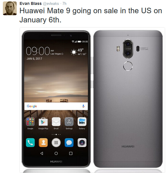 The Huawei Mate 9 could be launched in the U.S. at CES next month - The Huawei Mate 9 will launch in the U.S. on January 6th?