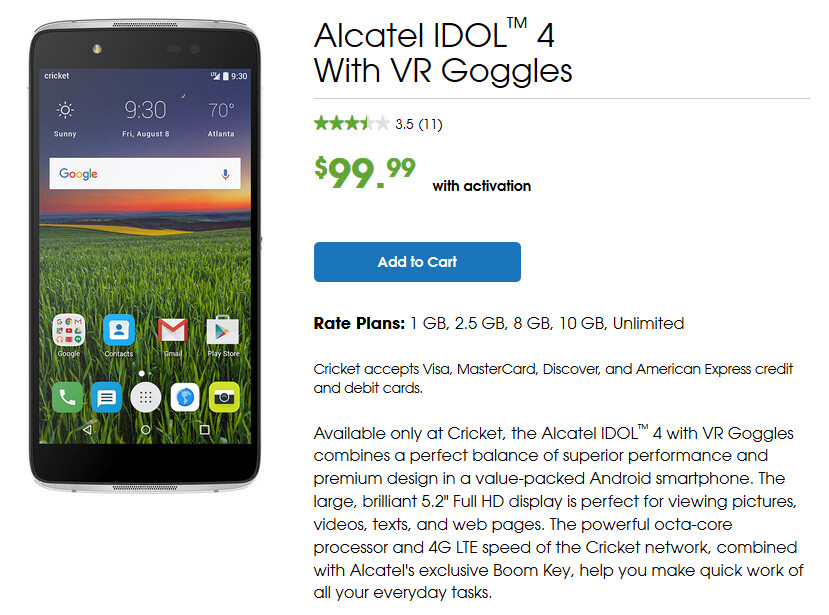 Alcatel Idol 4 with VR Goggles now on sale for just $99 99 from