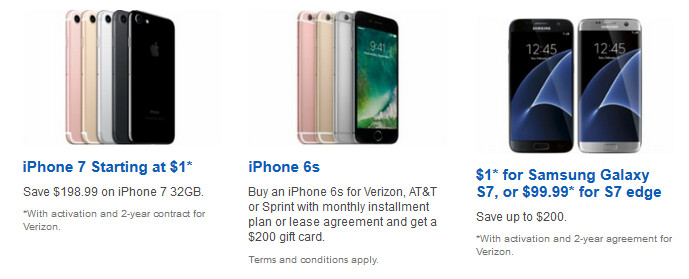 Green Monday from Best Buy: Buy the iPhone 7 or Galaxy S7 for as low as $1 with signed contract