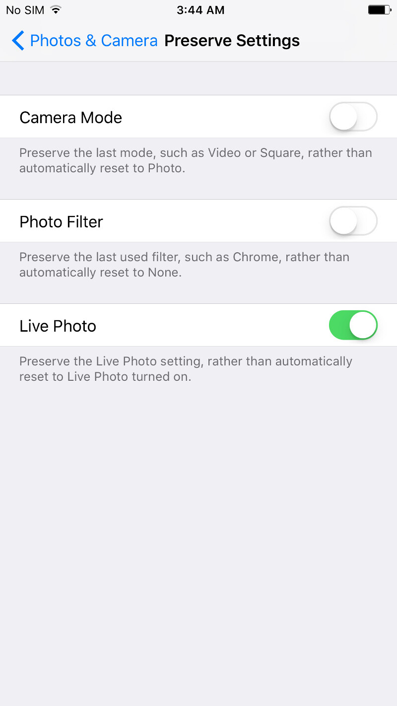 You can now preserve the camera settings of your iPhone, thanks iOS 10.2!