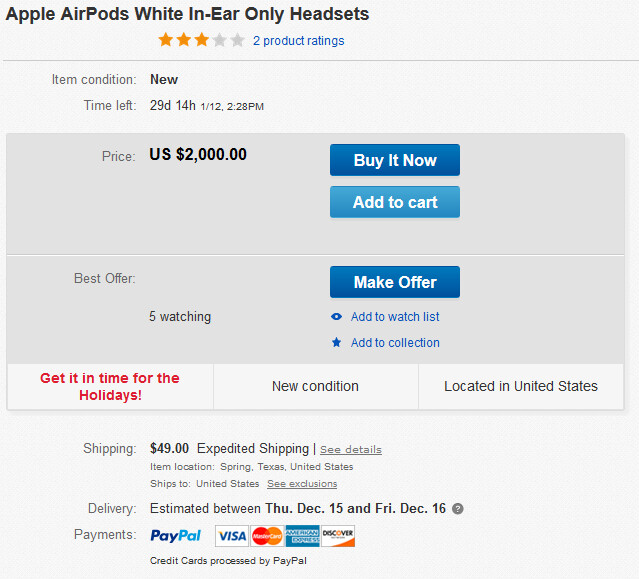 Need the AirPods now? It will cost you as much as $2K on eBay - Apple AirPods now ship in 4 weeks; get them before Xmas from eBay for as much as $2K