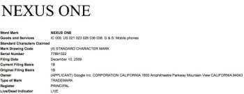 Google files trademark application for Nexus One
