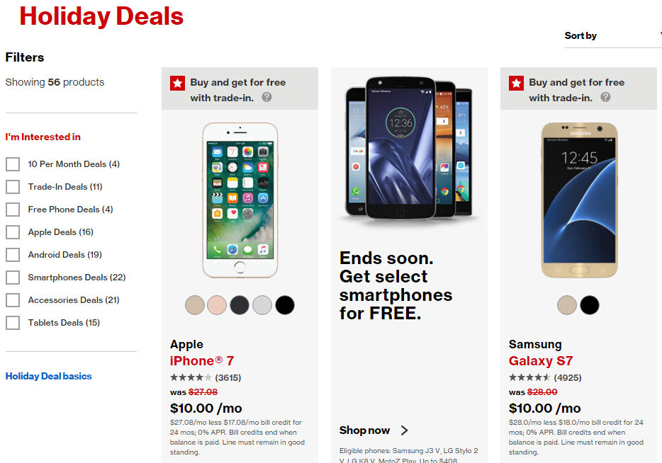 Verizon offers free flagship smartphones with trade-in