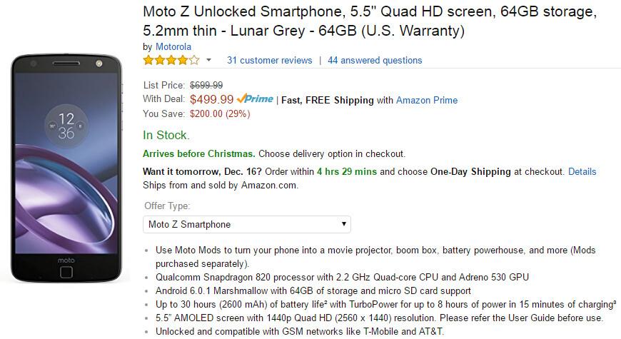 Deal: Unlocked Motorola Moto Z priced at $499 (again)