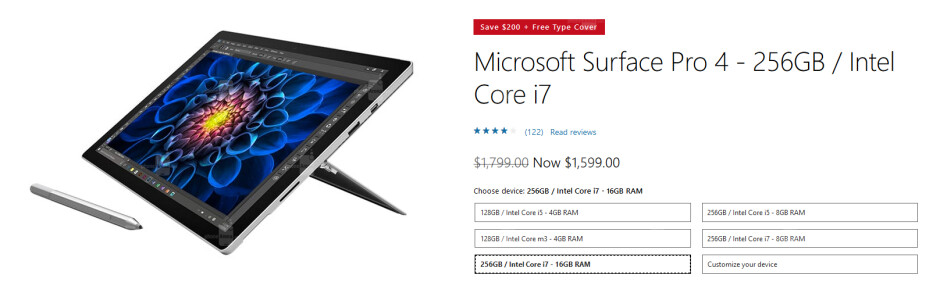 Save $200 and get a free Type Cover with the purchase of certain Surface Pro 4 tablets from the Microsoft Store - Last day of Microsoft's 12 Days of Deals brings a $200 Surface Pro 4 discount and a free Type Cover