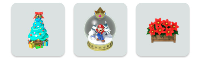 The new items included with the update - Super Mario Run gets minor holiday-themed update with a handful of Christmas decorations