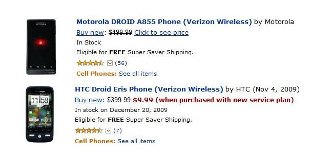 Amazon offers DROID and DROID ERIS for less than Verizon's BOGO deal