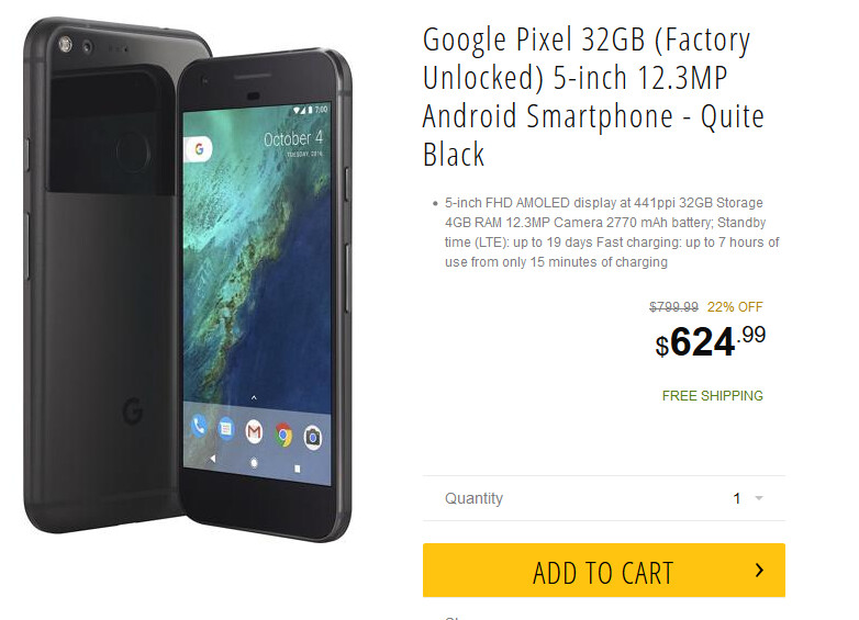 Save $75.01 on the purchase of the 32GB Pixel from Newegg - Save some bucks on the 32GB Google Pixel from Newegg for a limited time