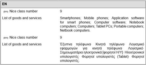 The trademark can be used on a smartphone and a smartphone operating system