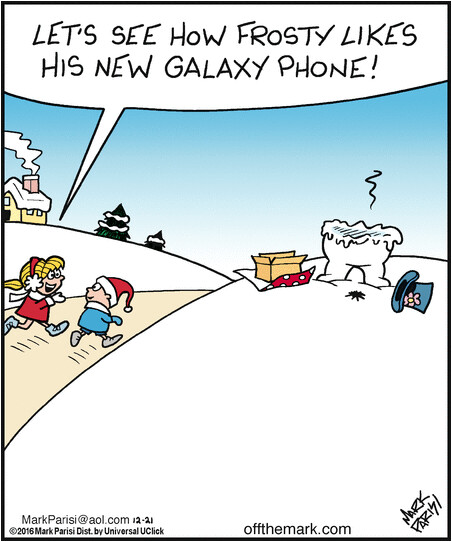The Samsung Galaxy Note 7 melts Frosty's heart, head, arms and more in this comic strip - Comic strip takes jab at the Samsung Galaxy Note 7