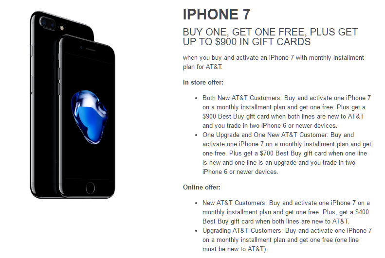 Best Buy meets AT&T's free iPhone 7 deal, and raises it up to $900 in gift cards