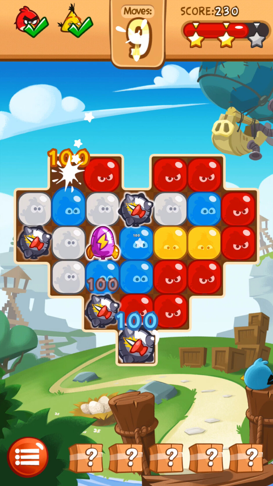 Different Boosters will help you avoid obstacles and get rid of pigs. - Angry Birds Blast Review