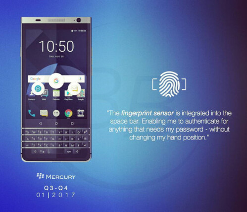 Image from a slide shows off the BlackBerry Mercury
