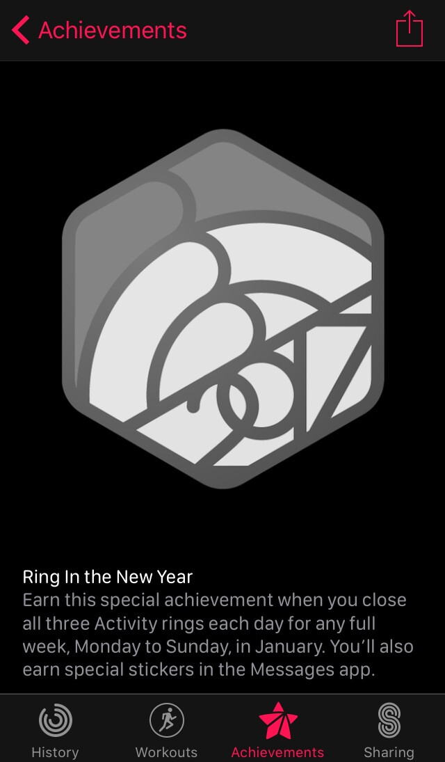 This is the notification for the challenge. - Apple Watch owners receive 'Ring In the New Year' fitness challenge