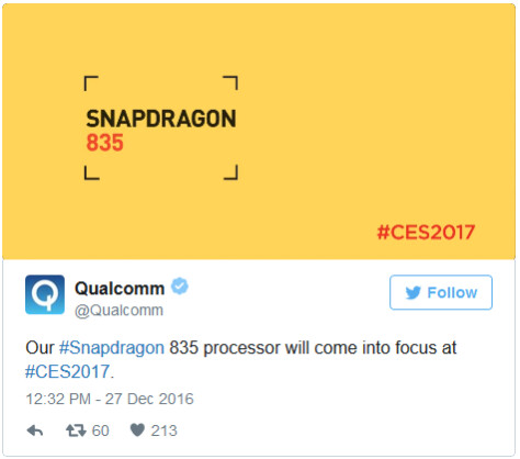Qualcomm teases the appearance of the Snapdragon 835 at next month's CES in Las Vegas - Qualcomm to release more information about the Snapdragon 835 chipset at next month's CES