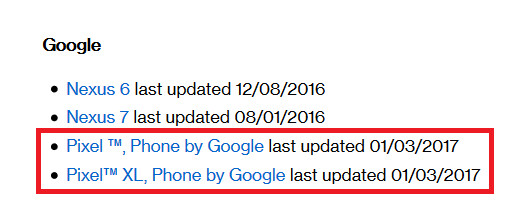 Verizon's support page apparently knows the future - Android's security update for January is coming next week?