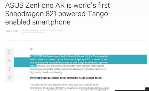 Asus accidentally releases a press release about the ZenFone AR two days before it is to be introduced