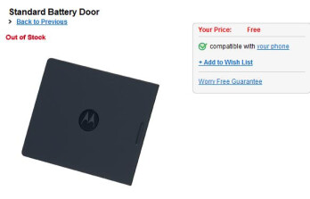 Verizon offers free replacement battery covers for the DROID, carrier out of stock