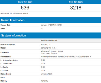 The Samsung Galaxy A5 (2016) is benchmarked with Android 7.0