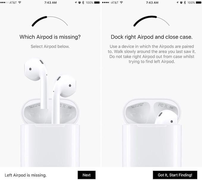 Screenshots from Finder for AirPods, courtesy of MacRumors - Apple takes down app that helps you track your lost AirPods