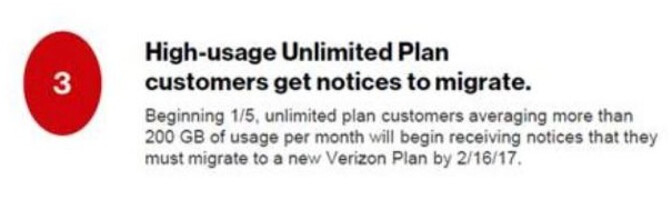 Verizon seeks to move data hogs with unlimited service to another plan - Verizon tells data hogs with unlimited service to change plans by February 16th, or get cut off