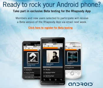 Rhapsody for Android now in beta, 7 day free trial available