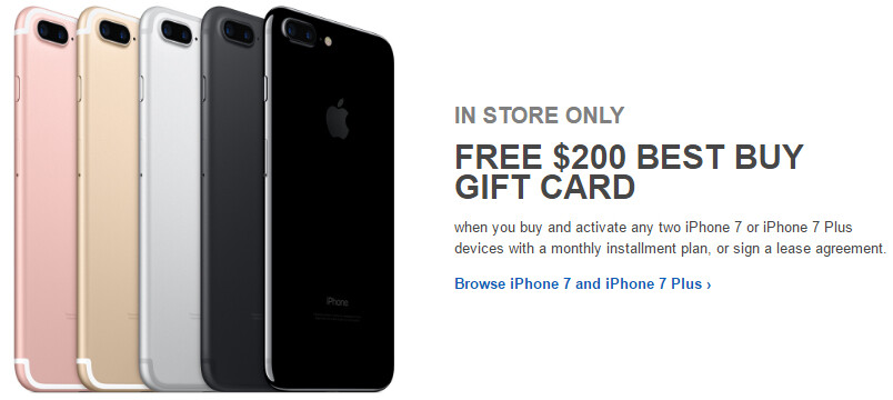 Deal: Buy two iPhone 7s, get a $200 gift card from Best Buy