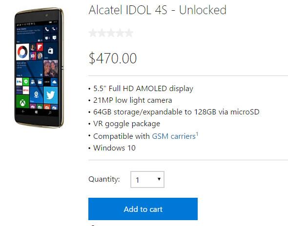 Unlocked Windows 10 Mobile version of Alcatel Idol 4S