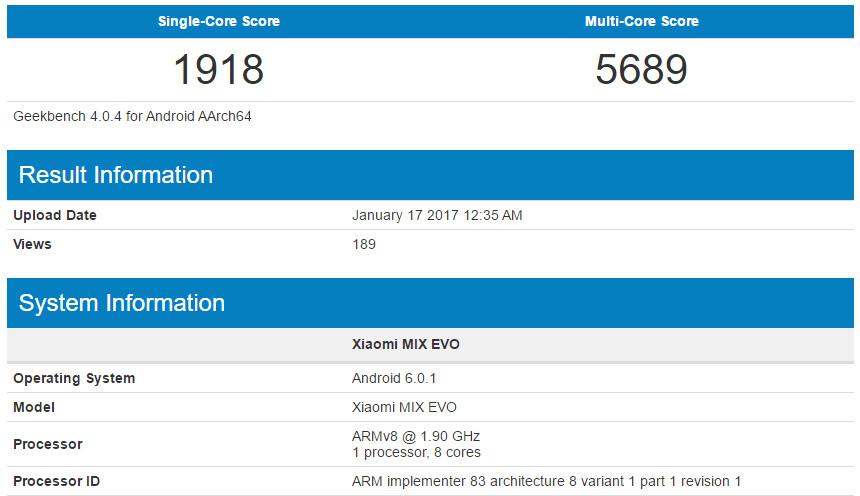Xiaomi MIX EVO could sport a Snapdragon 835 processor