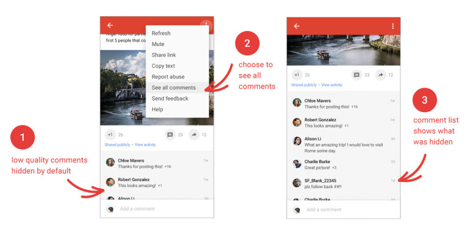 Hiding low-quality comments - Google+ major update brings back Events, adds zoom functionality, more