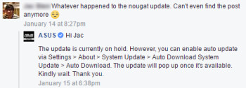 "Asus ZenFone 3 Android Nougat update ""on hold"", should be re-released soon"