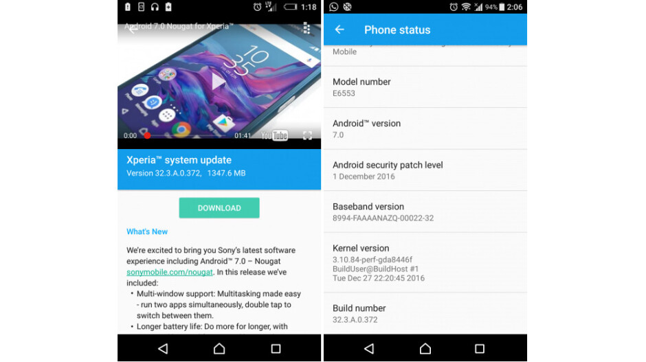Sony Xperia Z3+ and Z3+ Dual receiving Android 7.0 Nougat update