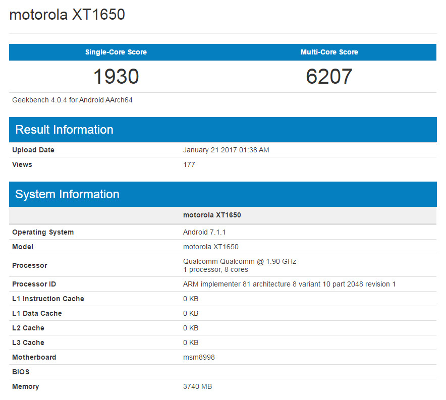 Moto Z with Snapdragon 835 processor could be in the cards, shows up in benchmark database