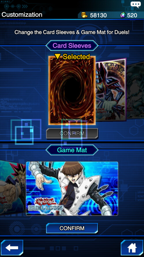 You can customize your game mat and card backs