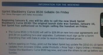 RadioShack starting to offer the BlackBerry 8530 for Sprint?