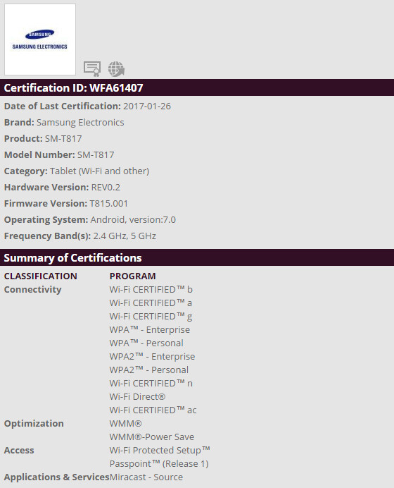 Samsung Galaxy Tab S2 Wi-Fi certification - Samsung Galaxy Tab S2 could receive Android 7.0 Nougat update very soon