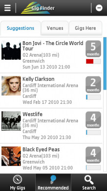 Gig Finder from Nokia finds live music events based on your location