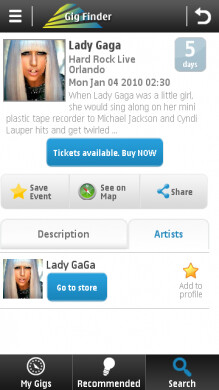 Gig Finder from Nokia finds live music events based on your