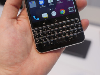 The phone has a well-backlit physical keyboard beneath the screen