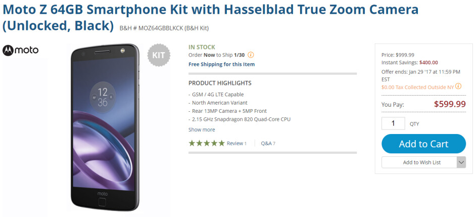 Buy the 64GB unlocked Moto Z and the Hasselblad True Zoom Moto Mod for $599 - B&H bundle deal takes $400 off the purchase of a Hasselblad True Zoom and the unlocked Moto Z bundle