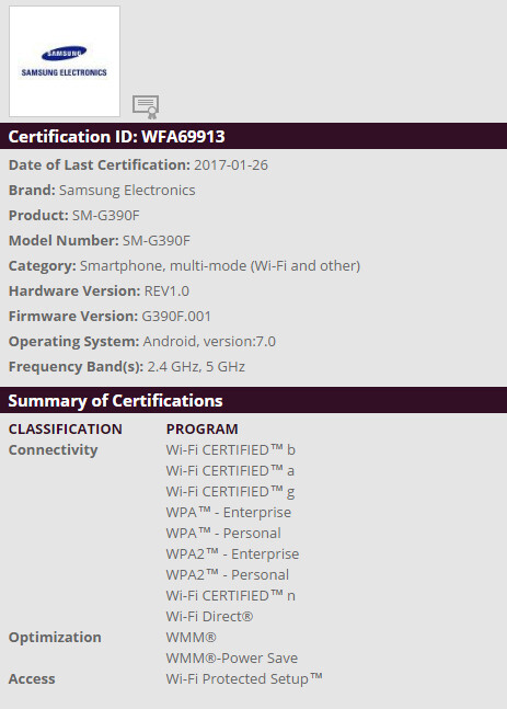 Samsung SM-G390F Wi-Fi certification - Samsung Galaxy Xcover 4 could be announced soon