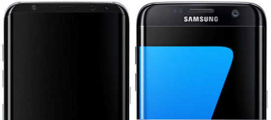 """Concept S8 image (left) - taller, curved display, eating into the S7/edge top and bottom bezels may explain the 5.8""""/6.2"""" models rumor - Samsung Galaxy S8/Plus vs S7/edge specs and design: preliminary comparison"""