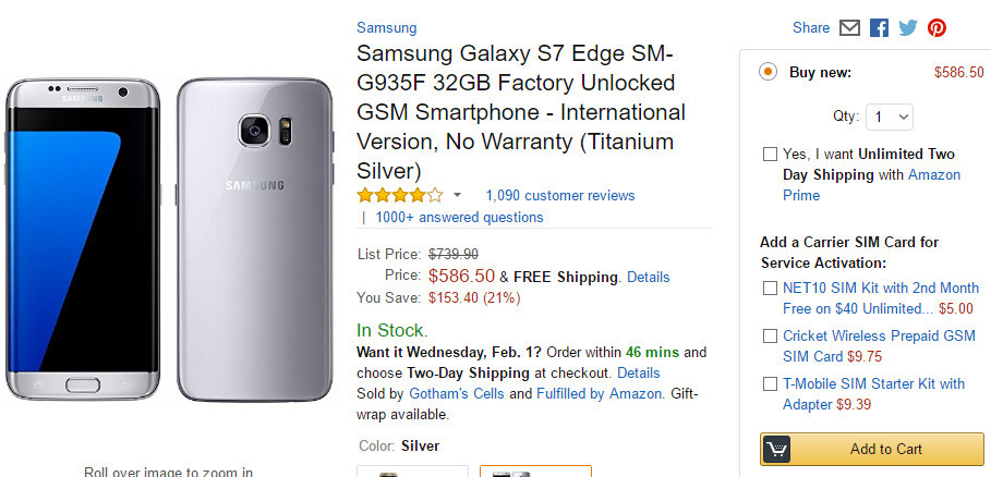 Deal: International Samsung Galaxy S7 edge now available for 20% off at Amazon