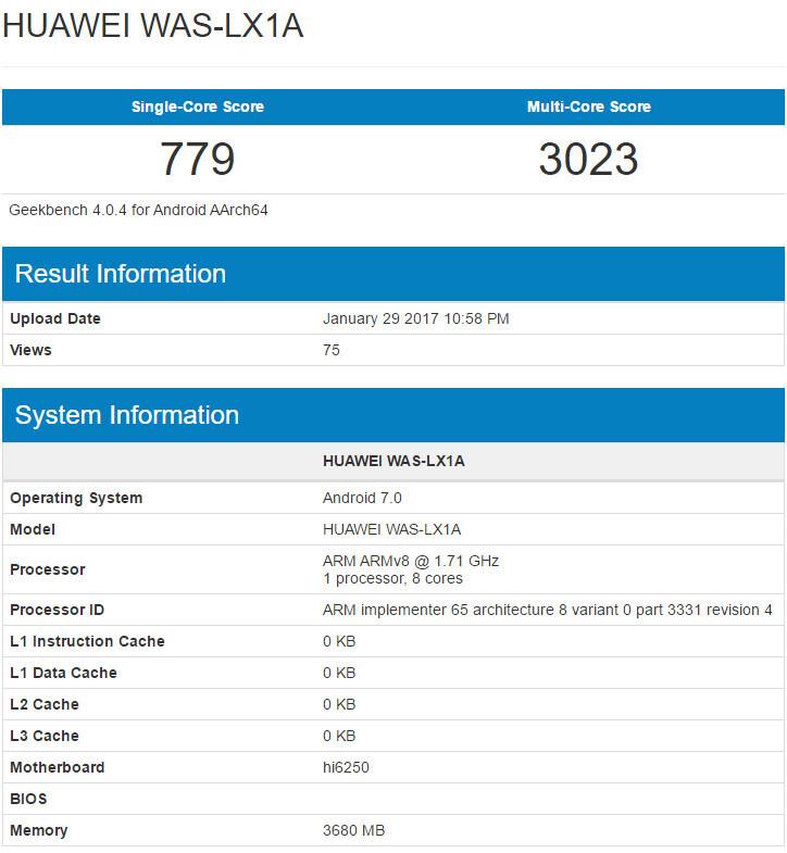 Huawei P10 Lite appears again, Kirin 655 chipset and 4GB RAM confirmed