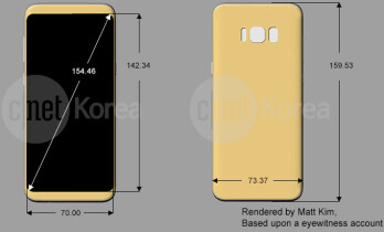 142mm over 70mm flat display area? Yep, that's awfully close to the rumored Galaxy S8 18.5/9 screen aspect ratio