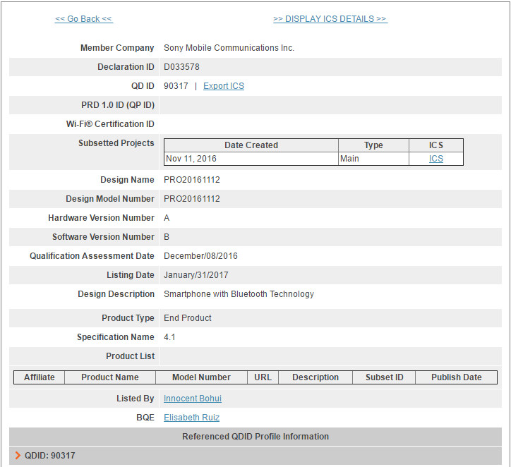 Sony has a new smartphone certified by Bluetooth - Unknown Sony handset receives Bluetooth SIG certification