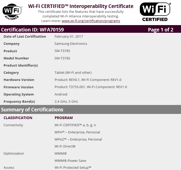 Mystery Samsung tablet is certified by the Wi-Fi Alliance - Mystery Samsung tablet is certified by the Wi-Fi Alliance